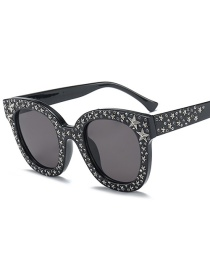Fashion Black Frame Gray Piece C1 Mirror Five-pointed Star Sunglasses