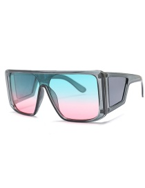Fashion Silver Frame On Blue Under Red C6 Box Four Lens Sunglasses
