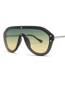 Fashion Green Under Yellow C8 Large Framed Lens Sunglasses