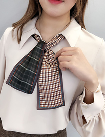 Fashion Gray-green Houndstooth Strip Multi-function Small Scarf