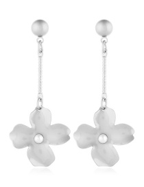 Fashion White Metal Round Diamond Flower Earrings