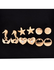 Fashion Gold Alloy Diamond-studded Starfish Love Earrings 6 Pairs
