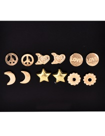 Fashion Gold Alloy Crescent Love Stud Earrings 6 Pairs