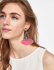 Fashion Pink Alloy Diamond Geometry Tassel Earrings