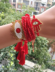 Fashion Red + Gold Eye Suit Woven Bracelet