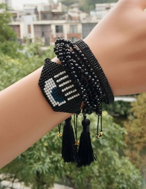 Fashion Black Set Bracelet Woven Eyes