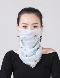 Fashion Light Blue Chiffon Mask Scarf