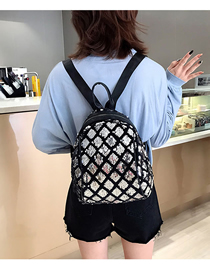 Fashion Silver Sequined Square Backpack Large