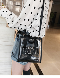 Fashion Black Transparent Diagonal Single Shoulder Jelly Child Handbag