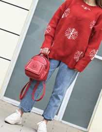 Fashion Red Soft Leather Backpack