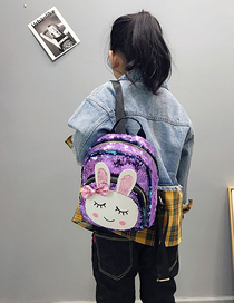 Fashion Purple Rabbit Rabbit Sequin Backpack