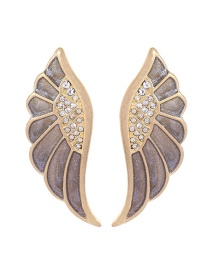 Fashion Gold Drip Feather Feather Stud Earrings