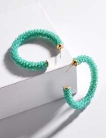 Fashion Green Glass Crystal Woven C-shaped Earrings