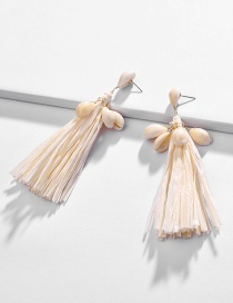 Fashion Beige Shell Conch Lafia Weaving Tassel Earrings