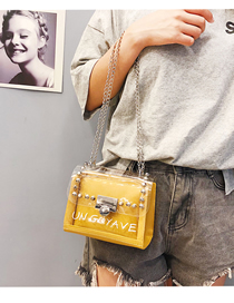 Fashion Yellow Crossbody Rivet Shoulder Transparent Chain Bag