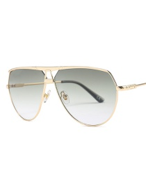 Fashion Gold Frame Green Ash Color Sunglasses