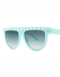 Fashion Green Frame Double Green Diamond Color Sunglasses