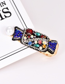 Fashion Color Alloy Diamond-cut Rice Beads Candy Pearl Hairpin