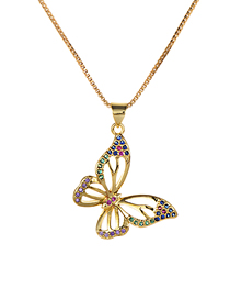 Fashion Gold Copper Inlaid Zirconium Butterfly Necklace