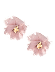 Fashion Leather Powder Mesh Flower Earrings