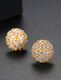 Fashion Gold Copper Inlaid Zircon Flower Ball Stud Earrings