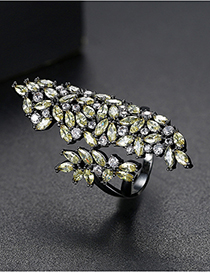 Fashion Yellow Copper Inlaid Zircon Opening Ring