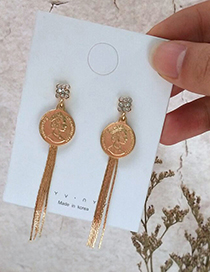 Fashion Gold S925 Silver Pin Metal Coin Tassel Queen Like Earrings