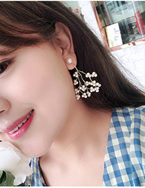 Fashion Pearl Pearl Tassel Irregular Branch Earrings