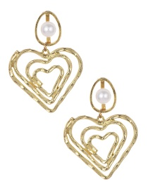 Fashion Gold Alloy Pearl Hollow Love Earrings