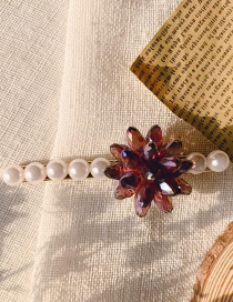 Fashion Fuchsia Crystal Imitation Pearl Crystal Flower Hair Clip