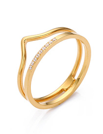 Fashion Gold Stainless Steel Crown Ring