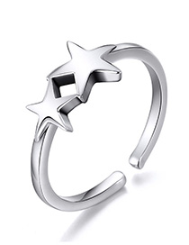Fashion Silver Hollow Five-pointed Star 925 Silver Ring