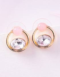 Fashion Pink (aquarelle Beads Ring) 925 Silver Needle Geometric Pearl Studded Gemstone Flower Stud Earrings