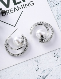 Fashion Silver Double Pearl Half Curved Pearl Earrings