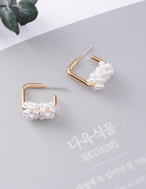 Fashion Gold 925 Silver Needle Popcorn Pearl Square Stud Earrings