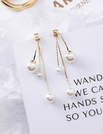 Fashion Gold Pearl Rear Hanging S925 Silver Needle Stud Earrings