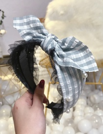 Fashion Gray Plaid Lace Bow Beaded Wide Side With Toothed Headband