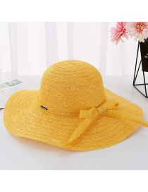Fashion Mango Yellow Daxie Iron Standard Letter Double Layer Lace Fisherman Hat