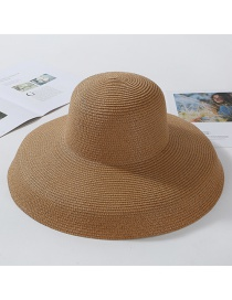 Fashion Light Coffee Color (longer) Light Plate Curved Straw Hat