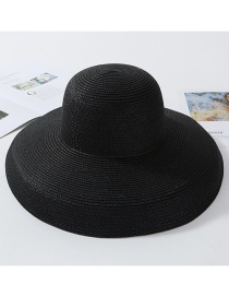 Fashion Black (longer) Light Plate Curved Straw Hat
