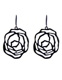 Fashion Black Alloy Plating Hollow Flower Earrings