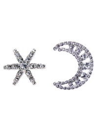 Fashion Silver Alloy Diamond Star Moon Asymmetric Earrings