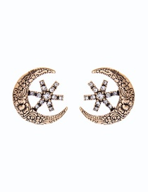 Fashion Ancient Gold Star-studded Moon Flower Embossed Earrings