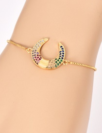 Fashion Gold Copper Inlay Zircon Crescent Bracelet