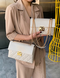 Fashion Creamy-white Crossbody Single Shoulder Rhombic Chain Bag