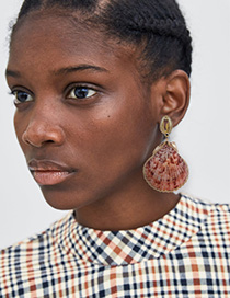 Fashion Gold Alloy Shell Orange Red Earrings