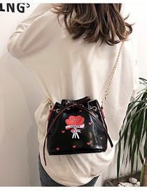 Fashion Black Printed Belt Shoulder Diagonal Shoulder Bag