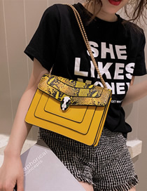 Fashion Yellow Big Contrast Shoulder Lock Buckle Mobile Messenger Bag