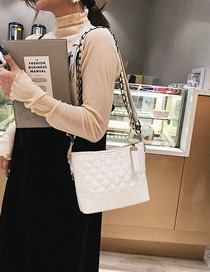 Fashion White Lingge Single Shoulder Diagonal Shoulder Bag