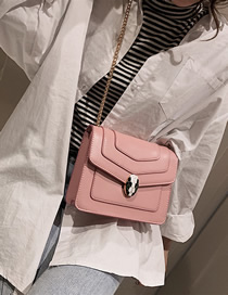 Fashion Pink Big Contrast Snake Head Stitching Shoulder Bag